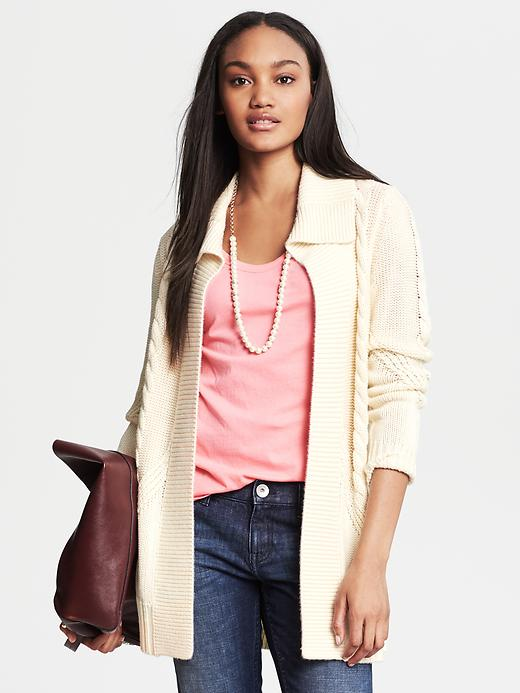Banana Republic Cable Knit Long Open Cardigan - Cocoon - Banana Republic Canada
