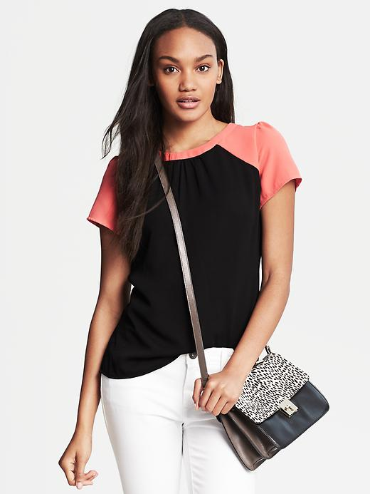 Banana Republic Colorblock Top - Black - Banana Republic Canada