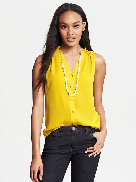 Banana Republic Sleeveless Buttoned Blouse - Gold lily - Banana Republic Canada