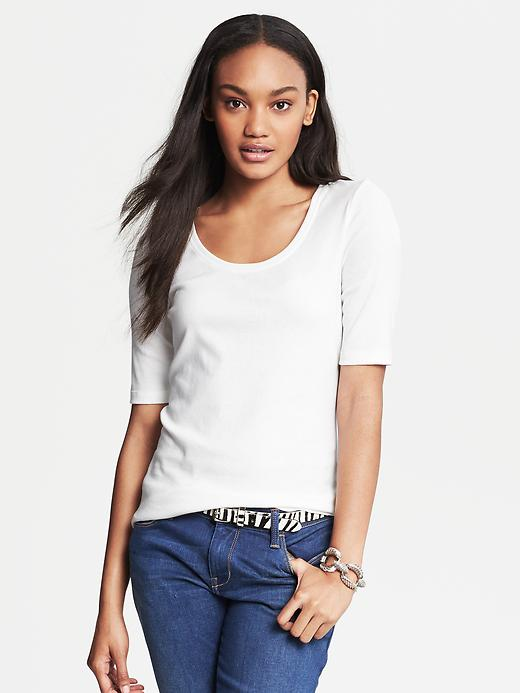 Banana Republic Elbow Sleeve Timeless Tee - White - Banana Republic Canada
