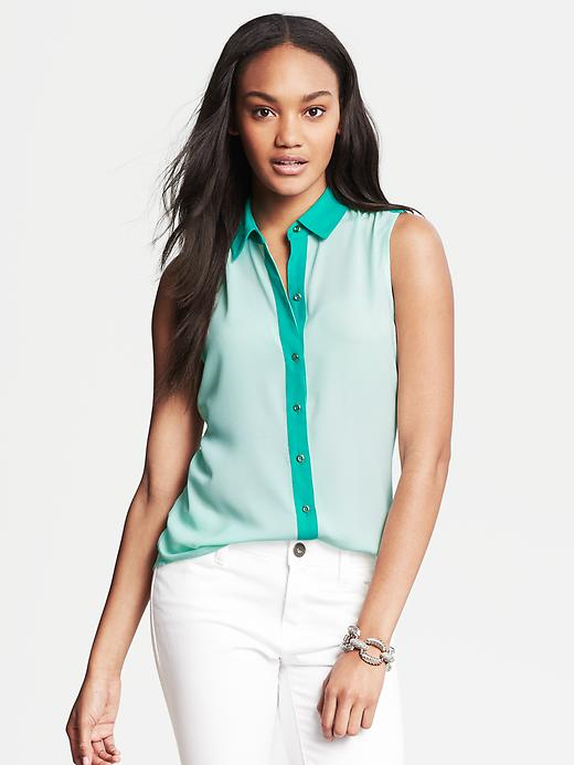 Banana Republic Colorblock Sleeveless Blouse - Frosted aqua - Banana Republic Canada