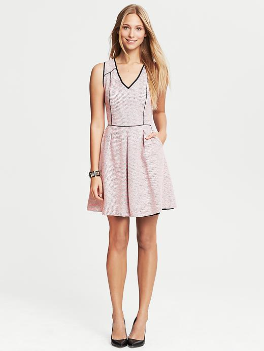 Banana Republic Piped Tweed Fit And Flare Dress - Pink - Banana Republic Canada