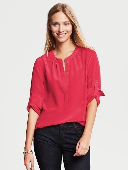 Banana Republic Silk Snap Front Blouse - Heartthrob - Banana Republic Canada