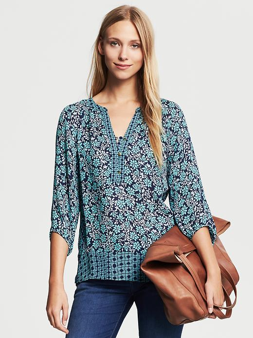 Banana Republic Mixed Print Blouse - Gentle breeze - Banana Republic Canada