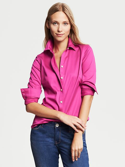 Banana Republic Fitted Non Iron Sateen Shirt - Wild orchid - Banana Republic Canada