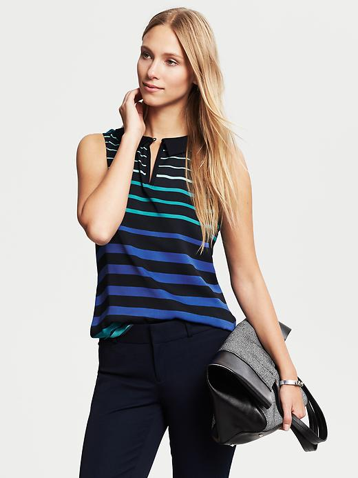 Banana Republic Multi Stripe Collared Popover Blouse - Riviera blue - Banana Republic Canada