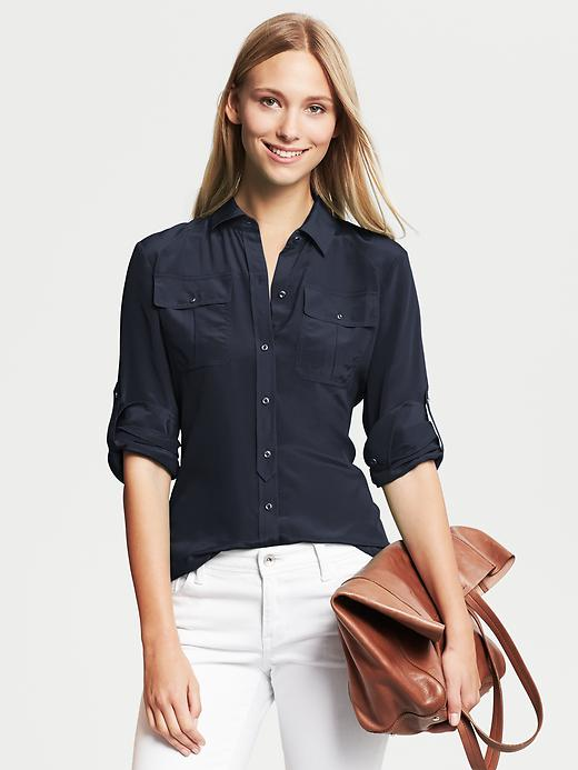 Banana Republic Silk Utility Blouse - True navy - Banana Republic Canada
