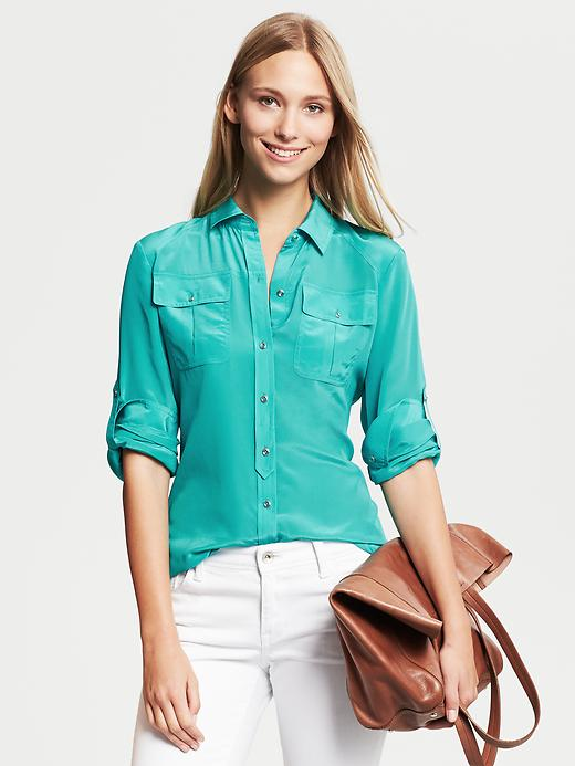Banana Republic Silk Utility Blouse - Cancun turquoise - Banana Republic Canada