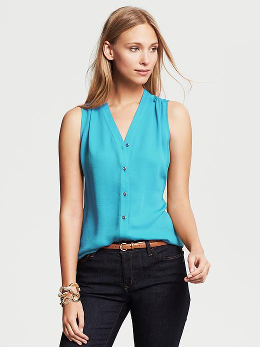 Banana Republic Sleeveless Buttoned Blouse - Aquarium blue - Banana Republic Canada