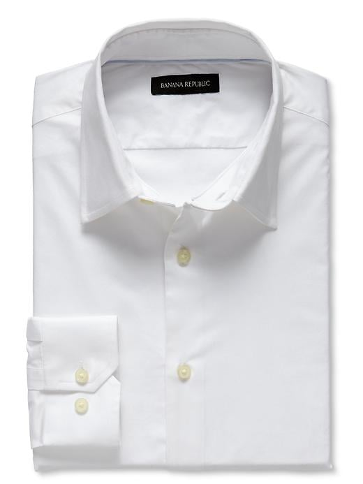 Banana Republic Slim Fit Blue Stretch Poplin Dress Shirt - White - Banana Republic Canada