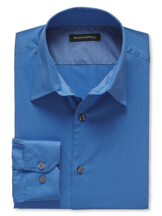 Banana Republic Slim Fit Blue Stretch Poplin Dress Shirt - Harbor blue - Banana Republic Canada