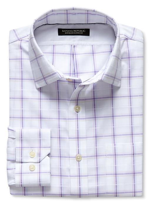 Banana Republic Classic Fit Non Iron Dobby Plaid Shirt - Lavender - Banana Republic Canada