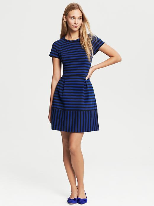 Banana Republic Mixed Stripe Fit And Flare Dress - Black - Banana Republic Canada