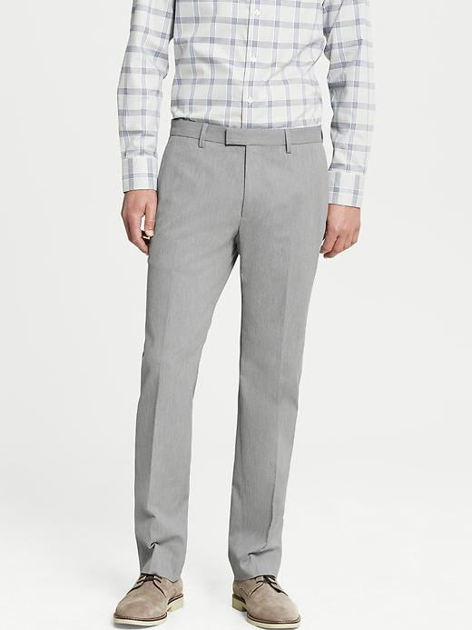Banana Republic Tailored Slim Fit Heathered Cotton Dress Pant - Grey heather - Banana Republic Canada