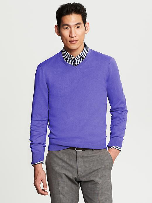 Banana Republic Silk Cotton Cashmere V Neck - Violet - Banana Republic Canada