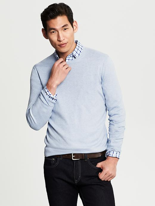 Banana Republic Silk/Cotton/Cashmere Crewneck - Cerulean - Banana Republic Canada