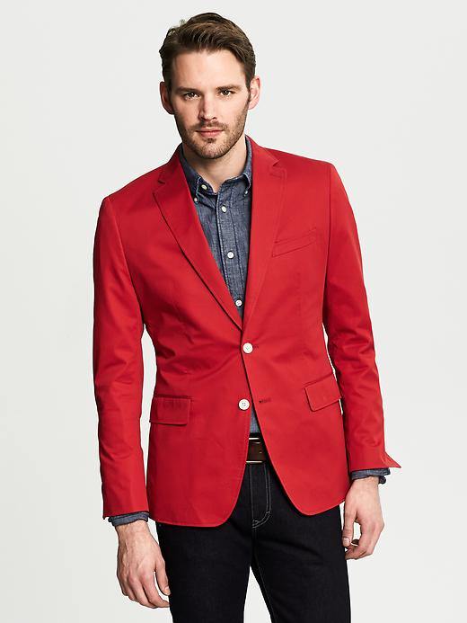 Tailored-Fit Cotton Sateen Blazer
