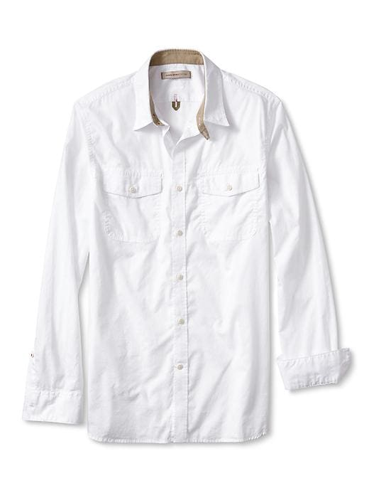 Banana Republic Heritage White Dobby Military Shirt - White - Banana Republic Canada