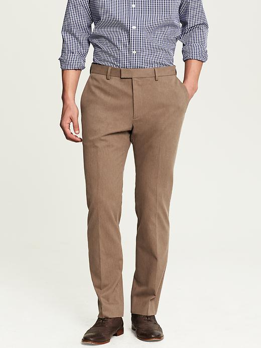 Banana Republic Tailored Slim Fit Heathered Cotton Dress Pant - Brown heather - Banana Republic Canada