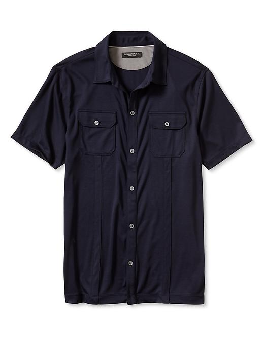 Banana Republic Luxe Touch Short Sleeve Utility Shirt - Preppy navy - Banana Republic Canada