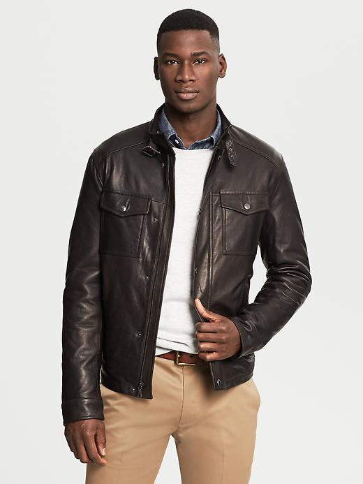 Banana Republic Brown Leather Four Pocket Jacket - Dark brown - Banana Republic Canada