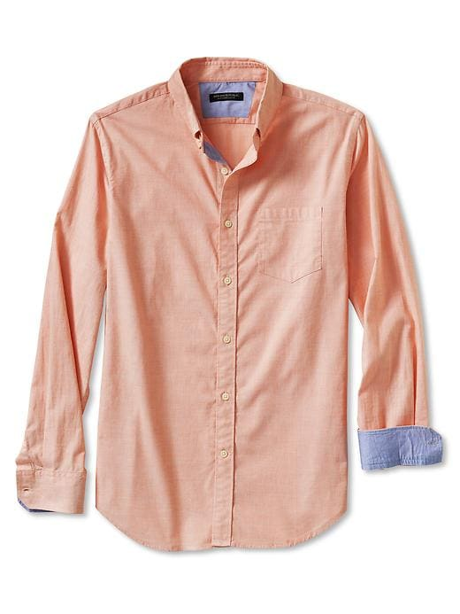 Banana Republic Slim Fit Soft Wash Button Down Shirt - Candied yam