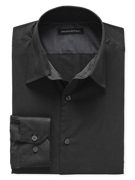 Banana Republic Slim Fit Blue Stretch Poplin Dress Shirt - Black - Banana Republic Canada