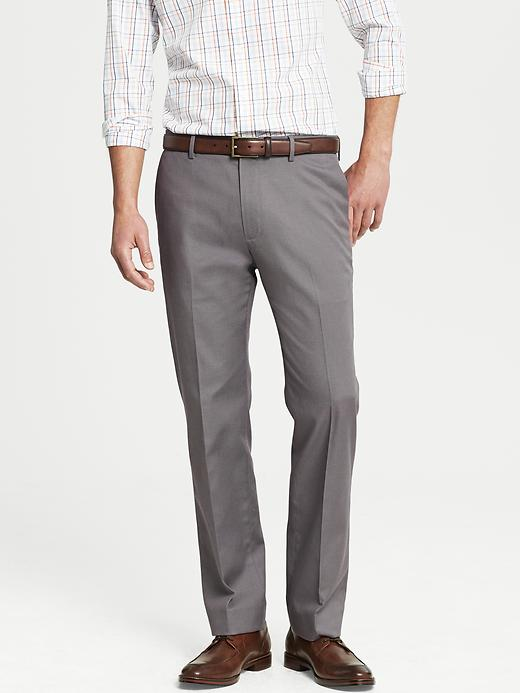 Banana Republic Tailored Slim Fit Non Iron Grey Cotton Pant - Grey heather - Banana Republic Canada