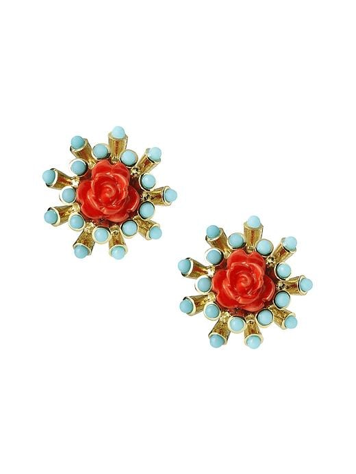 Banana Republic Neo Floral Stud Earring - Mint - Banana Republic Canada