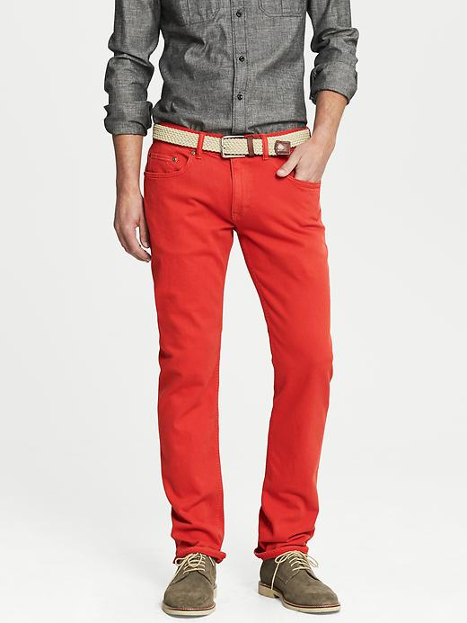 Banana Republic Vintage Straight Fit Five Pocket Pant - Tomato paste - Banana Republic Canada