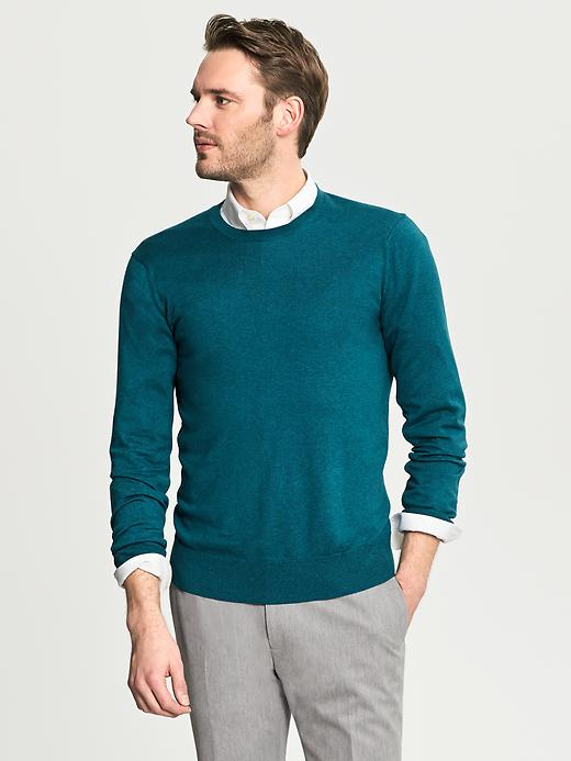 Banana Republic Silk/Cotton/Cashmere Crewneck - Dark teal - Banana Republic Canada