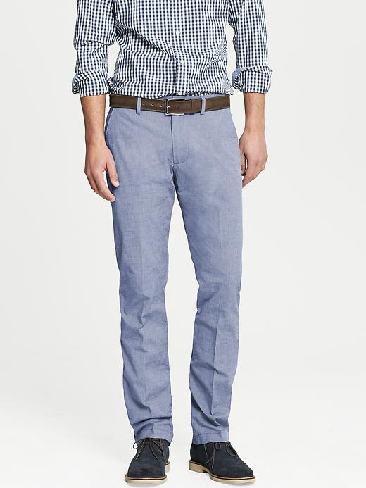 Banana Republic Kentfield Vintage Straight Fit Textured Blue Cotton Pant - Bright blue - Banana Republic Canada