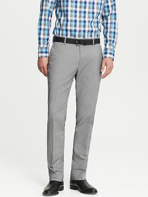 Banana Republic Tailored Slim Fit Non Iron Grey Cotton Pant - Light grey - Banana Republic Canada