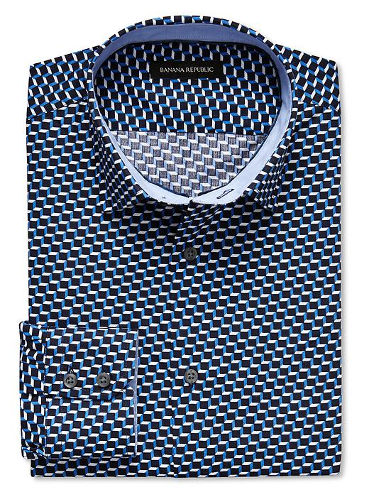 Banana Republic Slim Fit Geo Square Print Shirt - Damselfish blue - Banana Republic Canada