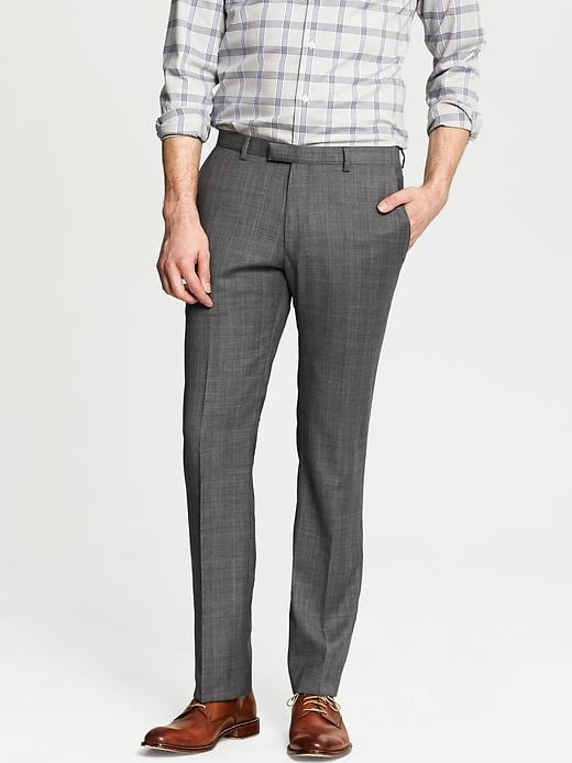 Banana Republic Modern Slim Fit Grey Plaid Wool Suit Trouser - Grey - Banana Republic Canada