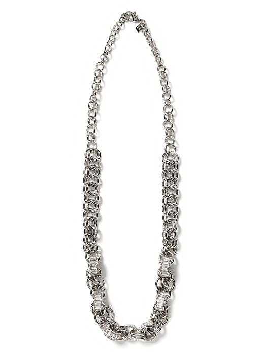 Banana Republic Glimmer Glamour Baguette Long Necklace - Silver - Banana Republic Canada