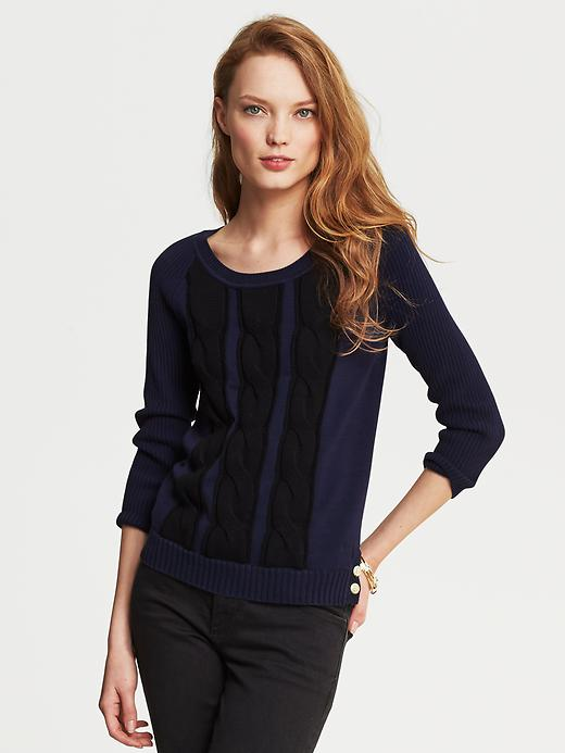 Banana Republic Cable Knit Three Quarter Sleeve Pullover - Classic navy - Banana Republic Canada