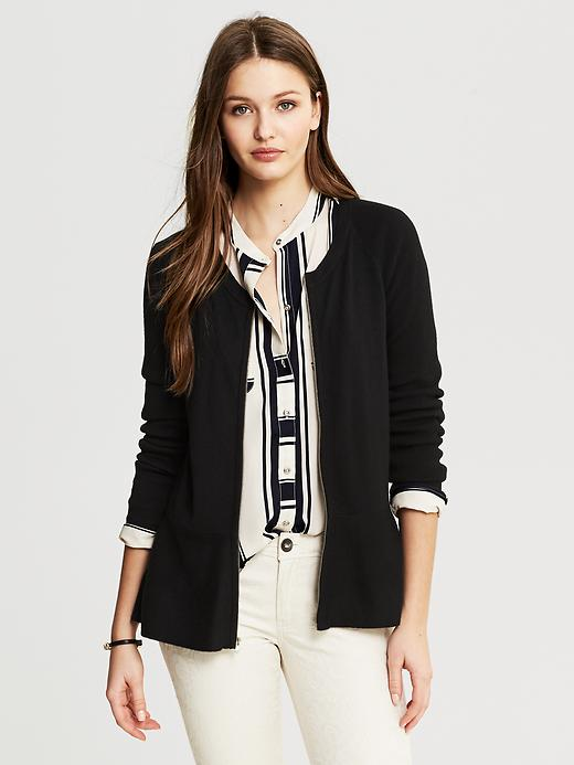 Banana Republic Black Peplum Zip Cardigan - Black - Banana Republic Canada