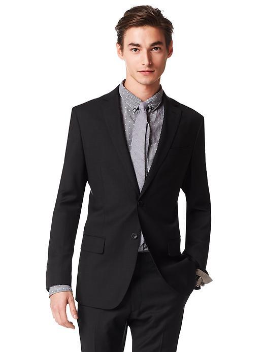 Banana Republic Heritage Black Checkered Wool Suit Jacket - Black - Banana Republic Canada