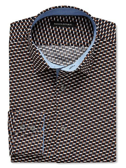Banana Republic Slim Fit Geo Square Print Shirt - Oxford brown - Banana Republic Canada