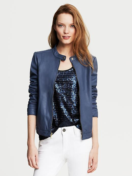 Banana Republic Blue Leather Moto Jacket - Ocean blue - Banana Republic Canada