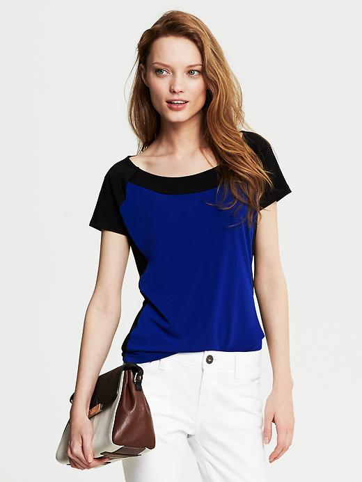 Banana Republic Colorblock Crepe Top - Marina blue - Banana Republic Canada