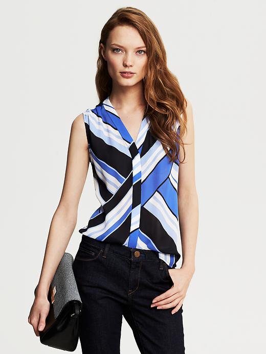 Banana Republic Bold Stripe Sleeveless Blouse - Riviera blue - Banana Republic Canada