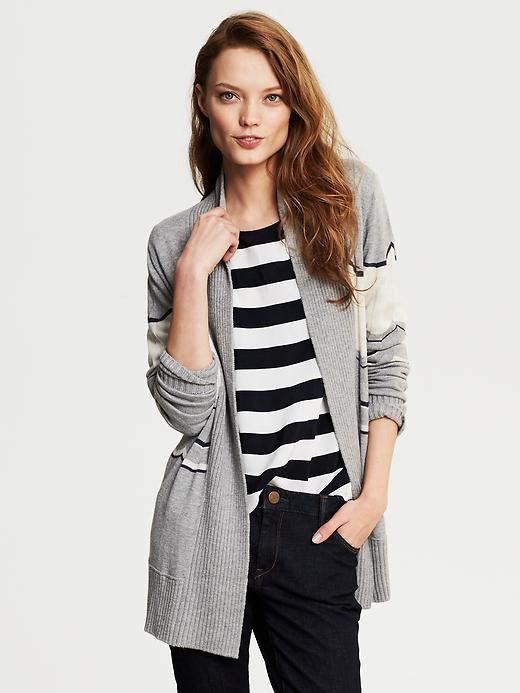 Banana Republic Chevron Stripe Long Open Cardigan - Gray heather - Banana Republic Canada
