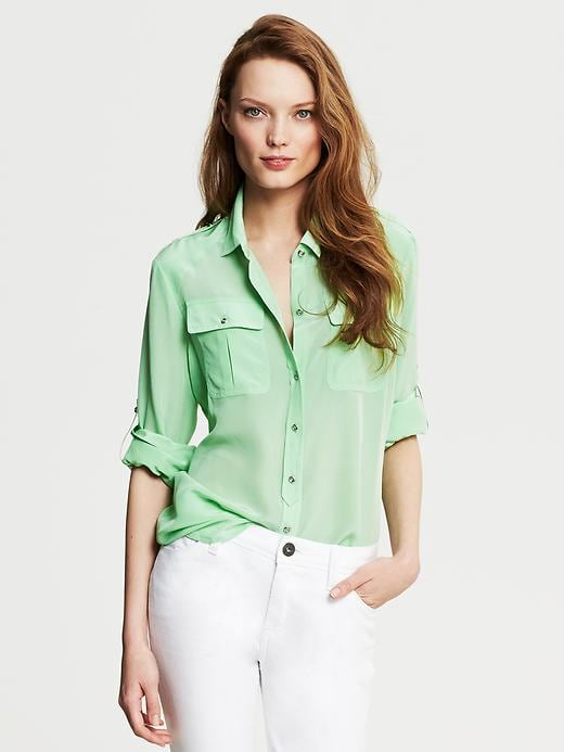 Banana Republic Silk Utility Blouse - Cool mint - Banana Republic Canada
