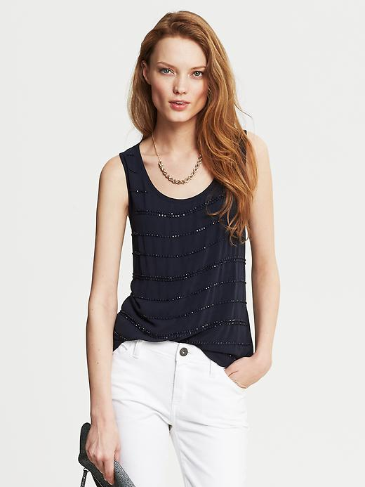 Banana Republic Beaded Stripe Tank - True navy - Banana Republic Canada