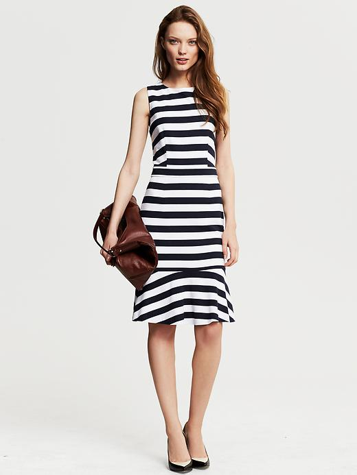 Banana Republic Navy Stripe Ponte Flounce Dress - True navy - Banana Republic Canada