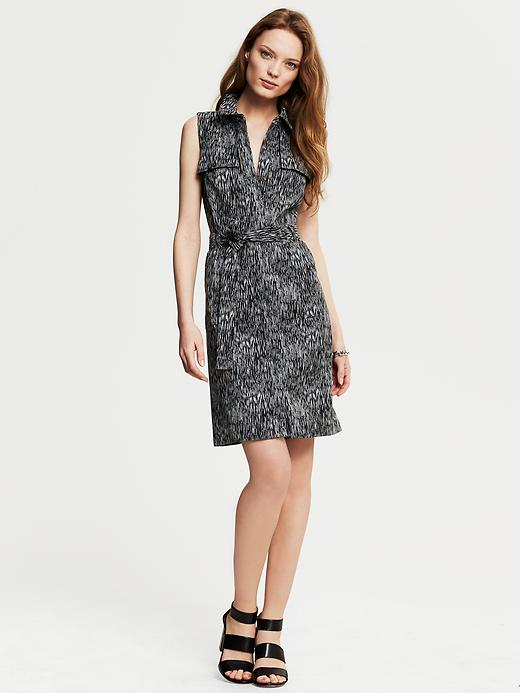 Banana Republic Heritage Sleeveless Printed Shirtdress - Black - Banana Republic Canada