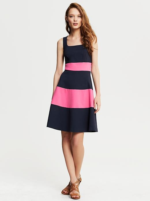 Banana Republic Rugby Stripe Ponte Fit And Flare Dress - Classic navy - Banana Republic Canada