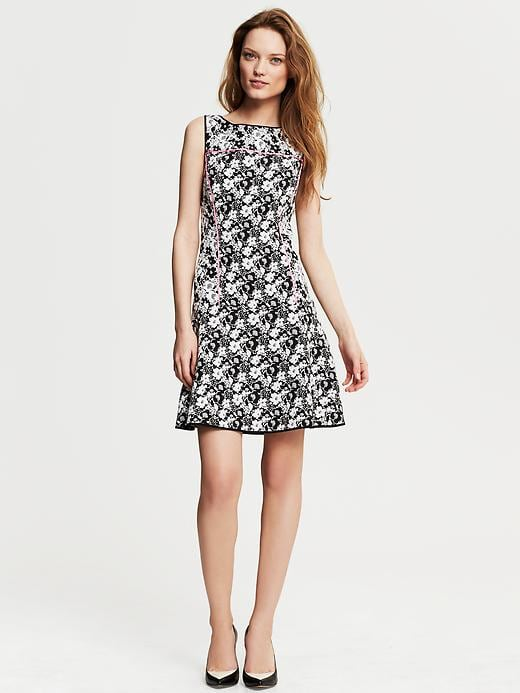 Banana Republic Piped Floral Fit And Flare Dress - Black - Banana Republic Canada